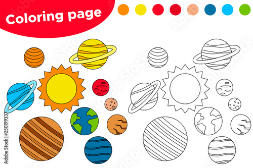 Educational Game For Preschool Kids. Printable Coloring Page Or Book,  Cartoon Solar System. Vector Illustration. - Buy This Stock Vector And  Explore Similar Vectors At Adobe Stock Adobe Stock