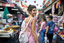 Attractive Woman Walking On Street Market In Thailand