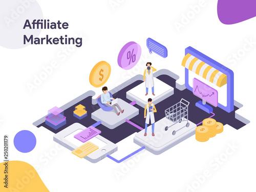 Photo Online Shopping Affiliate Marketing Isometric illustration