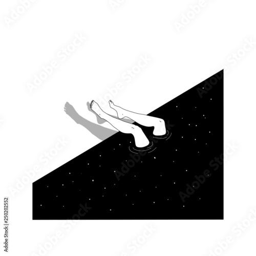 Swimmer woman dives in milky way Billede på lærred
