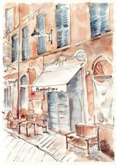 Fototapeta Optyczne powiększenie Old Italian street. Watercolor cityscape painting.
