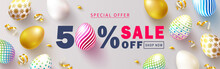Happy Easter Sale Banner.Beaut...