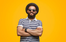 Handsome Happy Man In Sunglasses And Hat