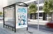 canvas print picture - bus stop music festival billboard
