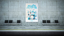 Music Festival Poster Billboard Mockup On Underground Station