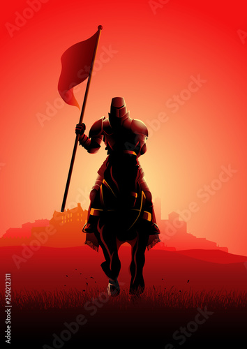 Fotografía Medieval knight on horse carrying a flag