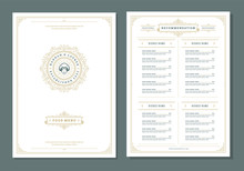 Restaurant Menu Design And Label Vector Brochure Template.