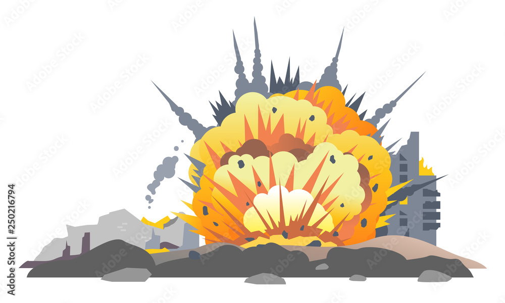Fototapeta Big bombs explosion with shrapnel and fireball in city, destroyed buildings ruins and concrete, war destruction concept illustration isolated on white background
