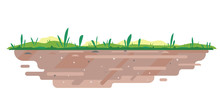 Soil With Grass In Flat Style,...