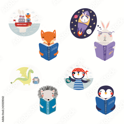Recess Fitting Illustrations Big set with cute animals reading different books. Isolated objects on white background. Hand drawn vector illustration. Scandinavian style flat design. Concept for kids print, learning, imagination.