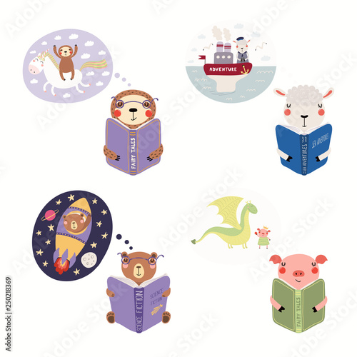 Recess Fitting Illustrations Big set with cute animals reading different books. Isolated objects on white background. Hand drawn vector illustration. Scandinavian style flat design. Concept children print, learning, imagination.