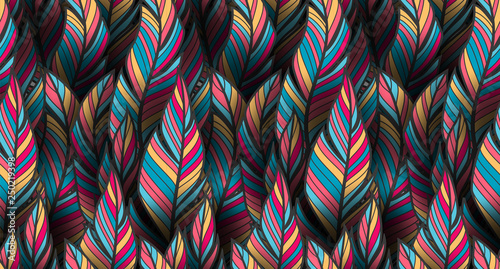 Photo sur Aluminium Style Boho Bright, colorful seamless feather pattern for textile and wrapping