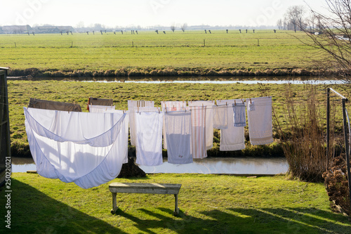 Fotografie, Obraz  Clean clothes drying in the wind on a washing line on a beautiful sunny day in spring