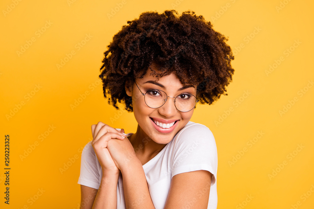 Fototapety, obrazy: Close-up portrait of her she nice cute charming attractive beautiful cheerful pleased wavy-haired lady eyeglasses eyewear holding hands isolated over bright vivid shine background