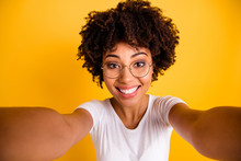 Close Up Photo Beautiful Amazing She Her Dark Skin Lady Make Take Selfies Cute Attractive White Teeth Gorgeous Smile Wear Specs Casual White T-shirt Isolated Yellow Bright Vibrant Vivid Background