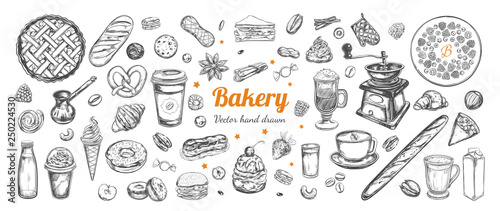 Coffee and Bakery vector hand drawn, elements Poster Mural XXL
