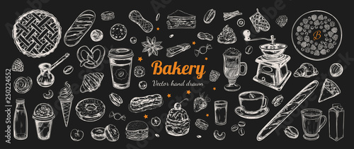 Papel de parede Coffee and Bakery vector hand drawn, elements