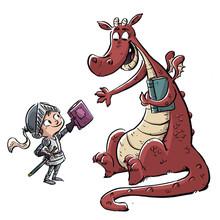 Niño Caballero Con Dragon Y Libro