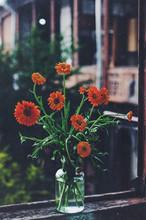 Bunch Of Chrysanthemum Flowers In Old Georgian Yard