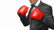 Businessman in boxing gloves isolated