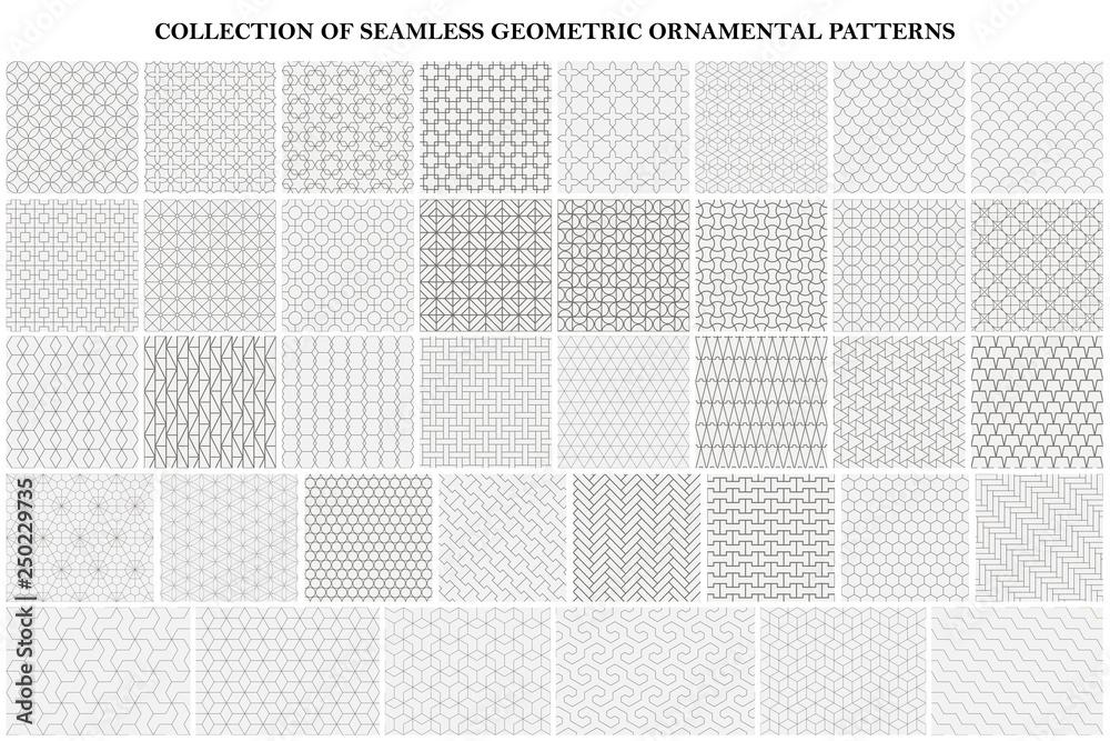 Fototapety, obrazy: Big bundle of geometric seamless patterns - ornamental symmetric design. Collection of vector decorative backgrounds