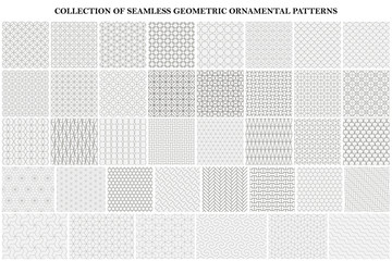 Big bundle of geometric seamless patterns - ornamental symmetric design. Collection of vector decorative backgrounds
