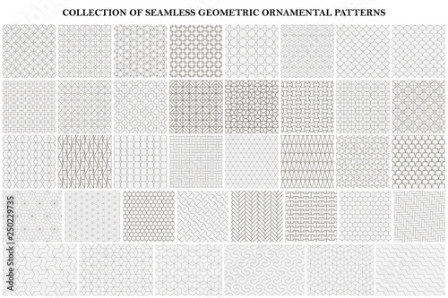 Big bundle of geometric seamless patterns - ornamental symmetric design. Collection of vector decorative backgrounds - 250229735