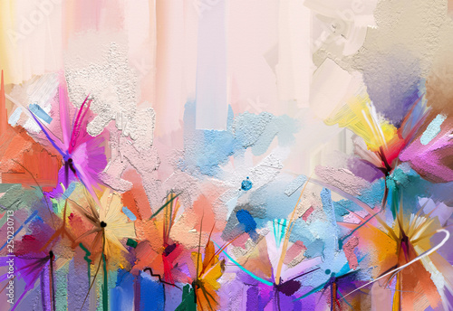 Fotografie, Obraz  Abstract colorful oil, acrylic painting of spring flower