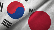 South Korea And Japan Two Flag...
