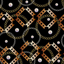 Fashion Seamless Pattern With Golden Chains. Fabric Design Background With Chain, Metallic Accessories, Pearls. Luxurious Print With Fashion Accessories.