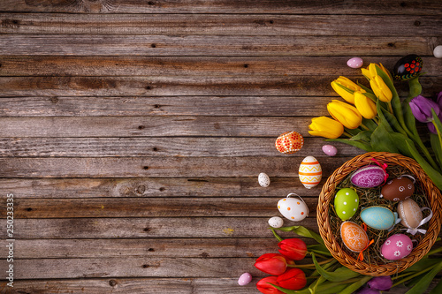 Easter eggs with tulips Canvas Print