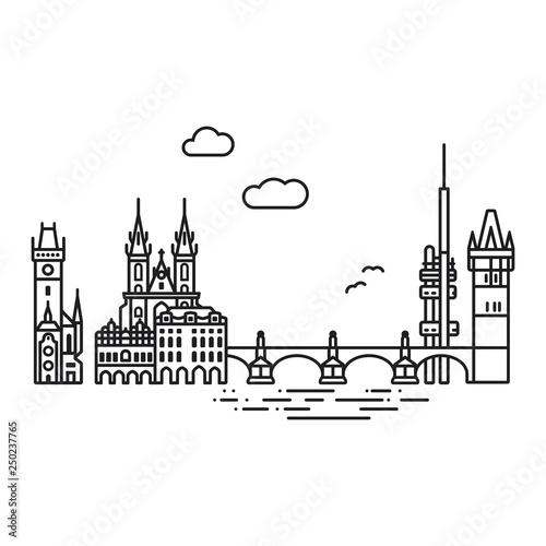 Leinwand Poster Prague cityscape with landmarks isolated line icon style vector illustration
