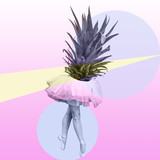 pineapple and body dancer collage art, pop colors, surreal mood - 250238127