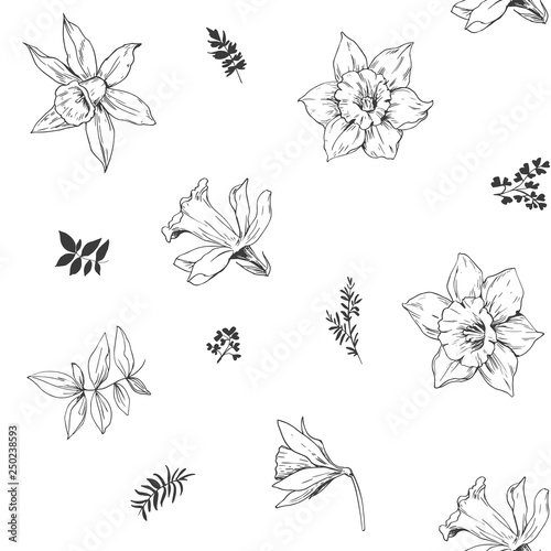 Photo Seamless pattern with daffodils flowers. Vector