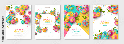 Stampa su Tela Easter posters or flyers set