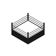 Empty Boxing Ring Silhouette Icon. Clipart Image Isolated On White Background