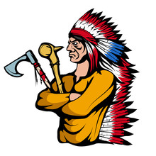 Colored Indian Chief With Trad...