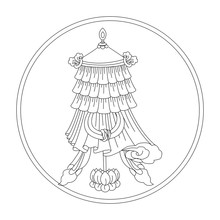 Victory Flag. Eight Auspicious Symbols Of Buddhism. Valuable. Black And White Drawing