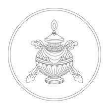 Precious Vase. Eight Auspicious Symbols Of Buddhism. Valuable. Black And White Drawing