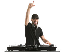 Male DJ Playing Music On White...