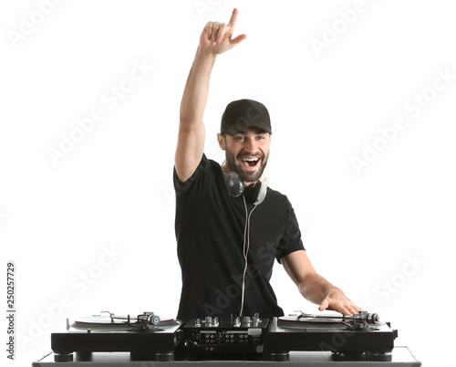 Male DJ playing music on white background - 250257729