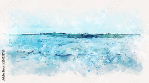 Papiers peints Abstract wave Abstract sea soft wave watercolor illustration painting backgroud.