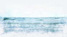 Abstract Sea Soft Wave Watercolor Illustration Painting Background.