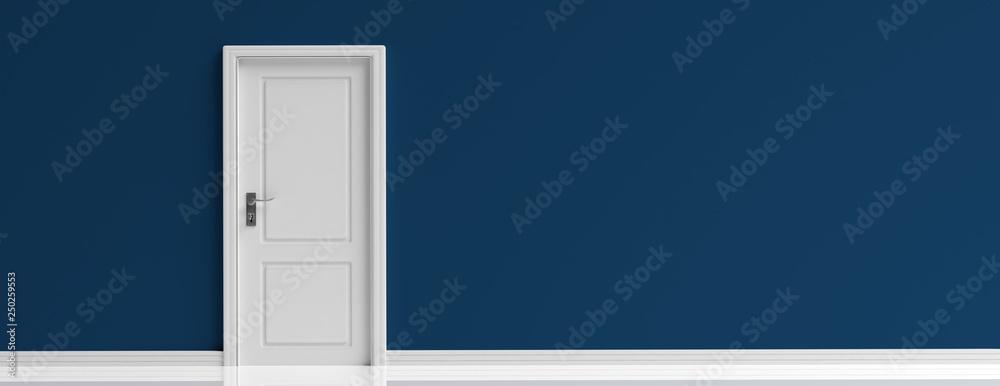 Fototapeta Closed door white on dark navy blue wall background, banner. 3d illustration
