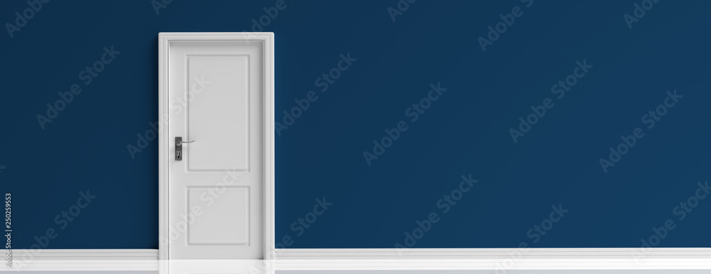 Fototapety, obrazy: Closed door white on dark navy blue wall background, banner. 3d illustration