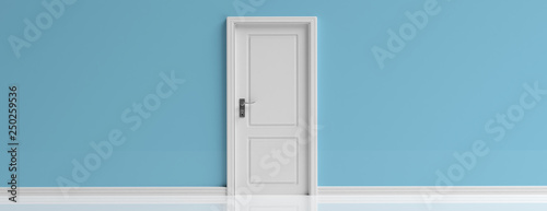 Fototapeta Closed door white on blue wall background, banner, copy space. 3d illustration obraz