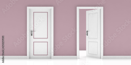 Closed and open door on pink wall and white floor background Canvas Print