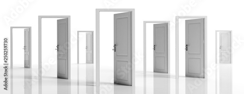 White doors opened on white background, banner. 3d illustration Canvas Print