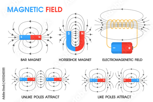 Fototapeta Physics science about the movement of magnetic fields Positive and negative