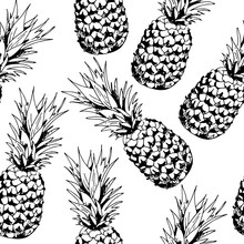 Pineapple Vector Seamless Pattern On White Background